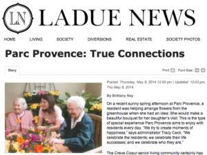 Ladue News article: Parc Provence True Connections