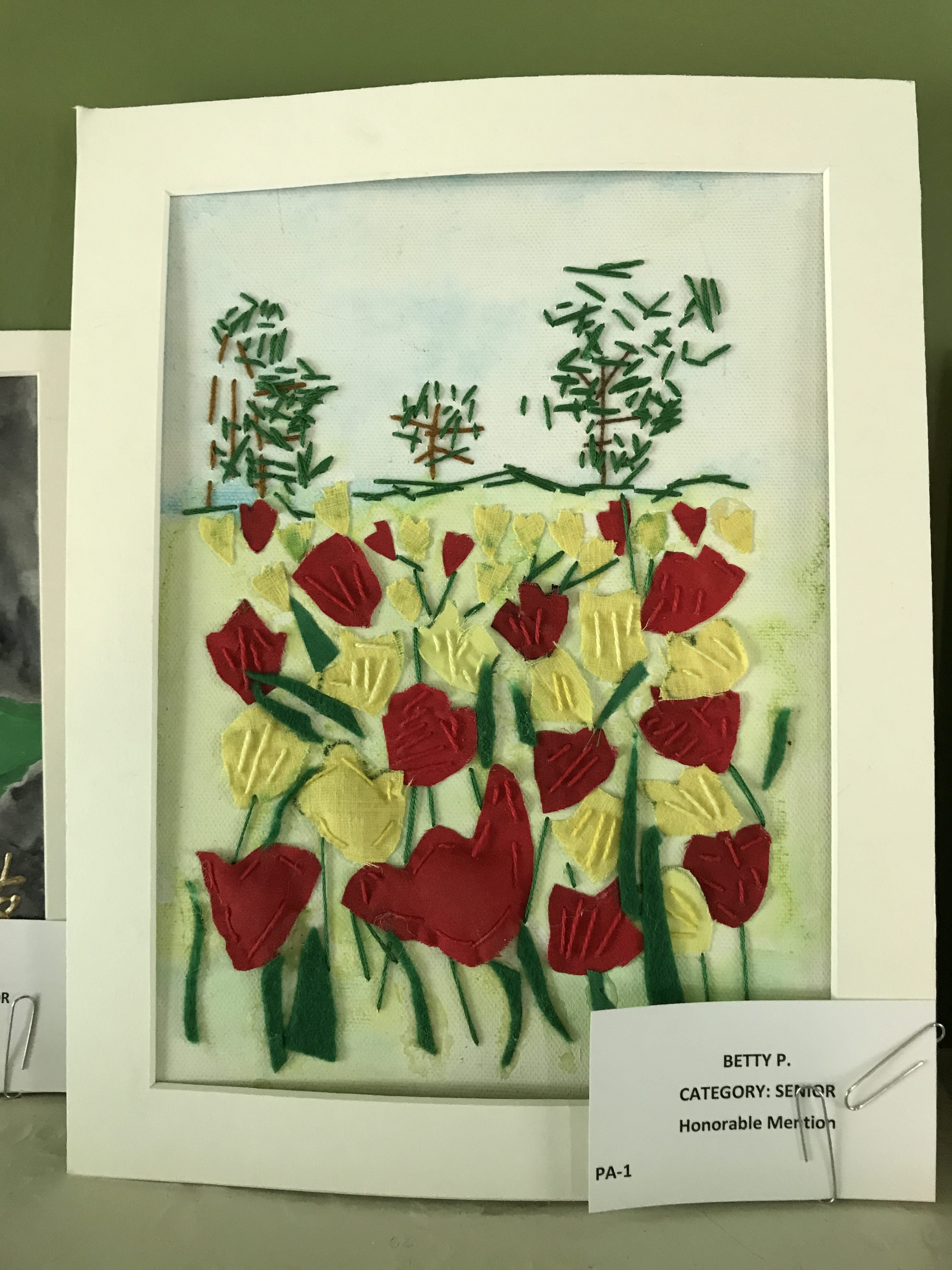 Stitched Flowers in a Field Artwork