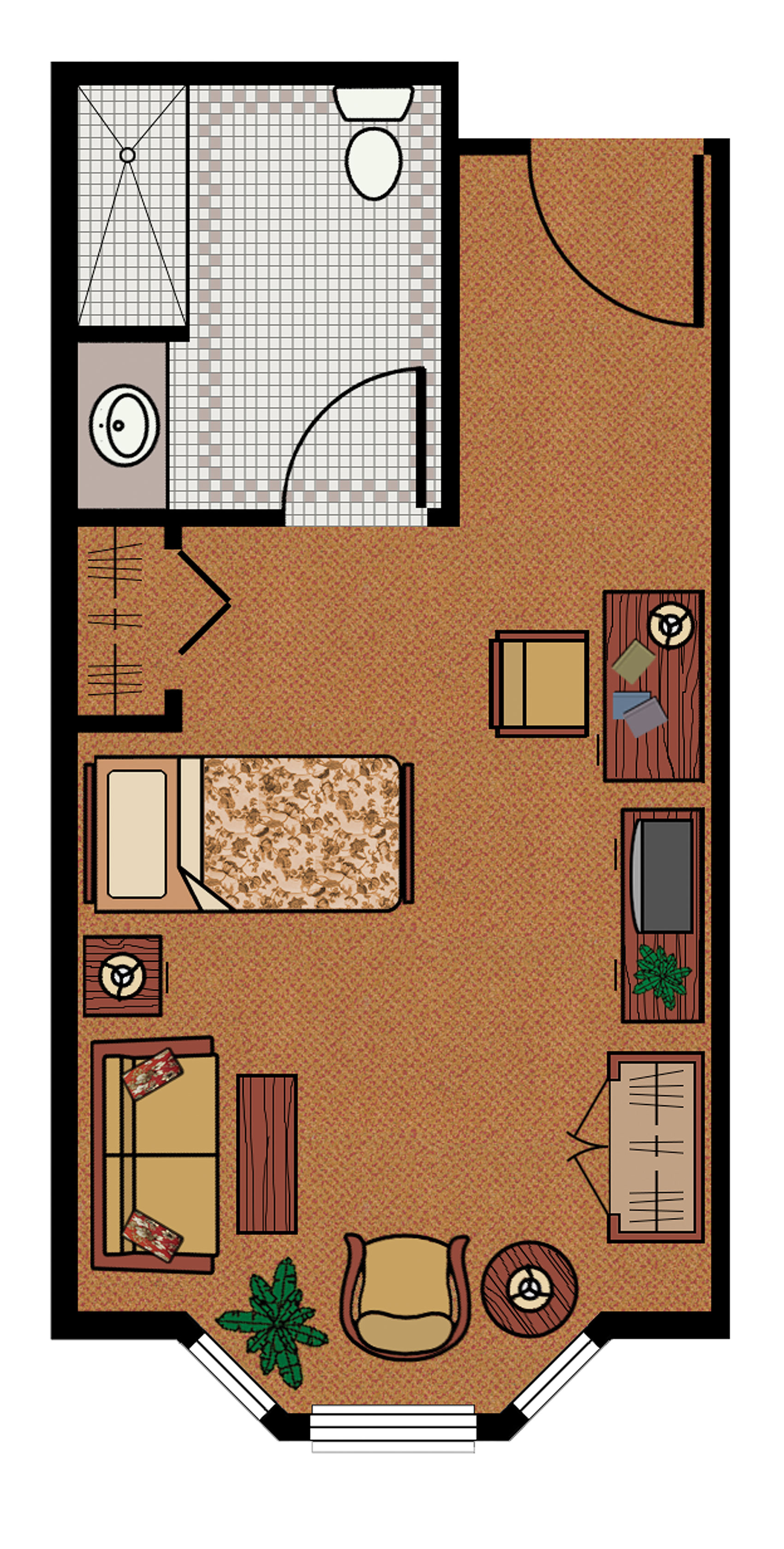A graphic of a floor plan for a large, private condo