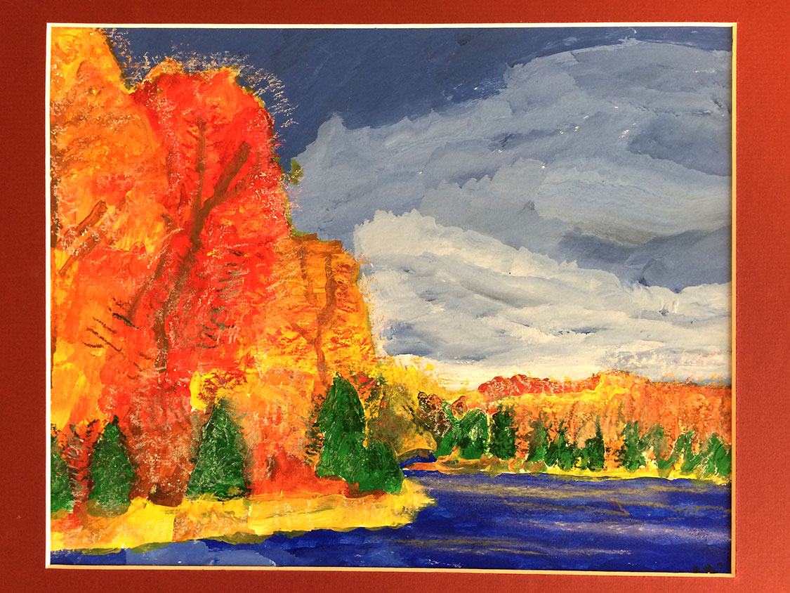 A watercolor painting of orange and green trees along a blue river