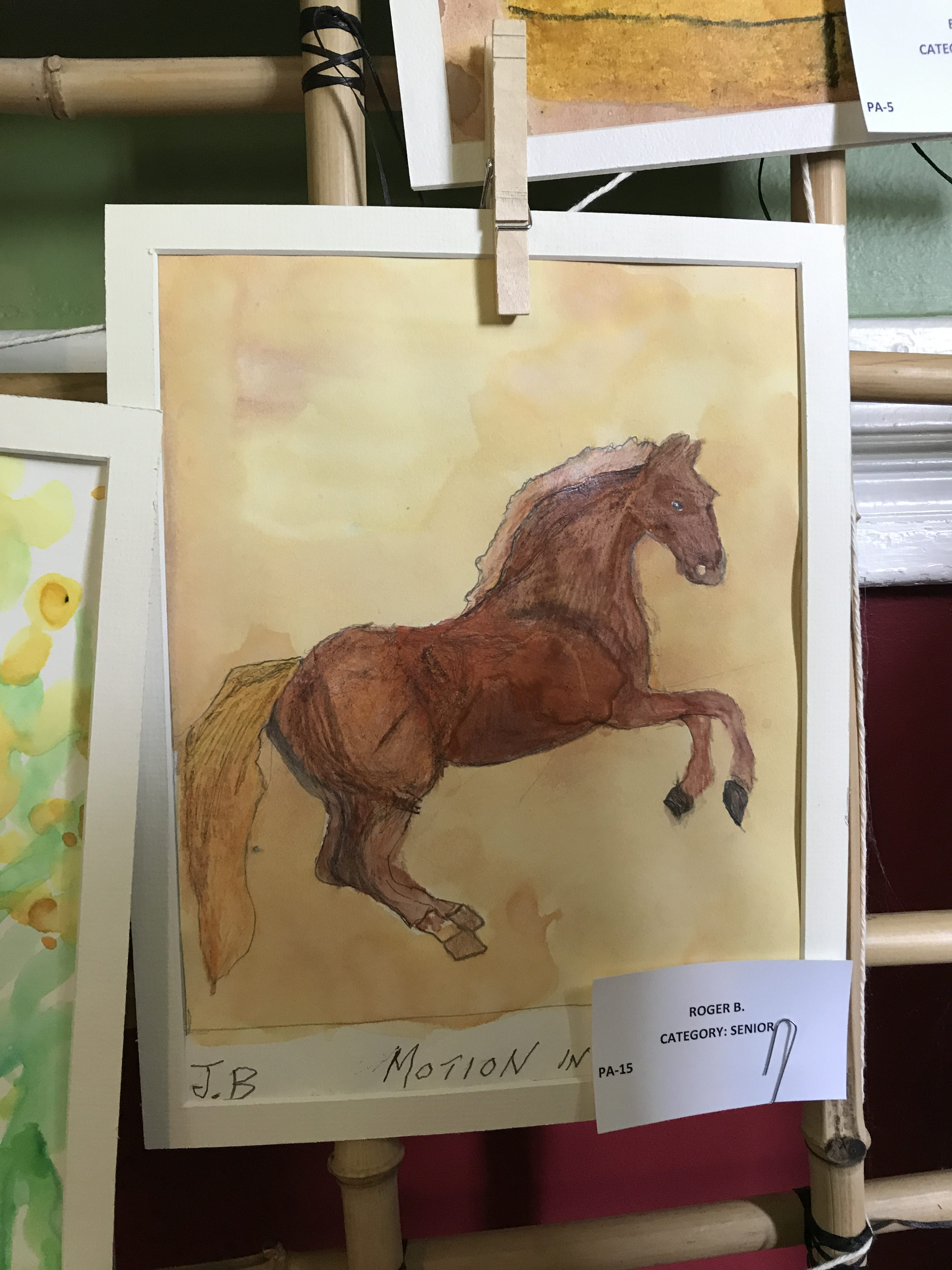 watercolor of horse in motion by roger