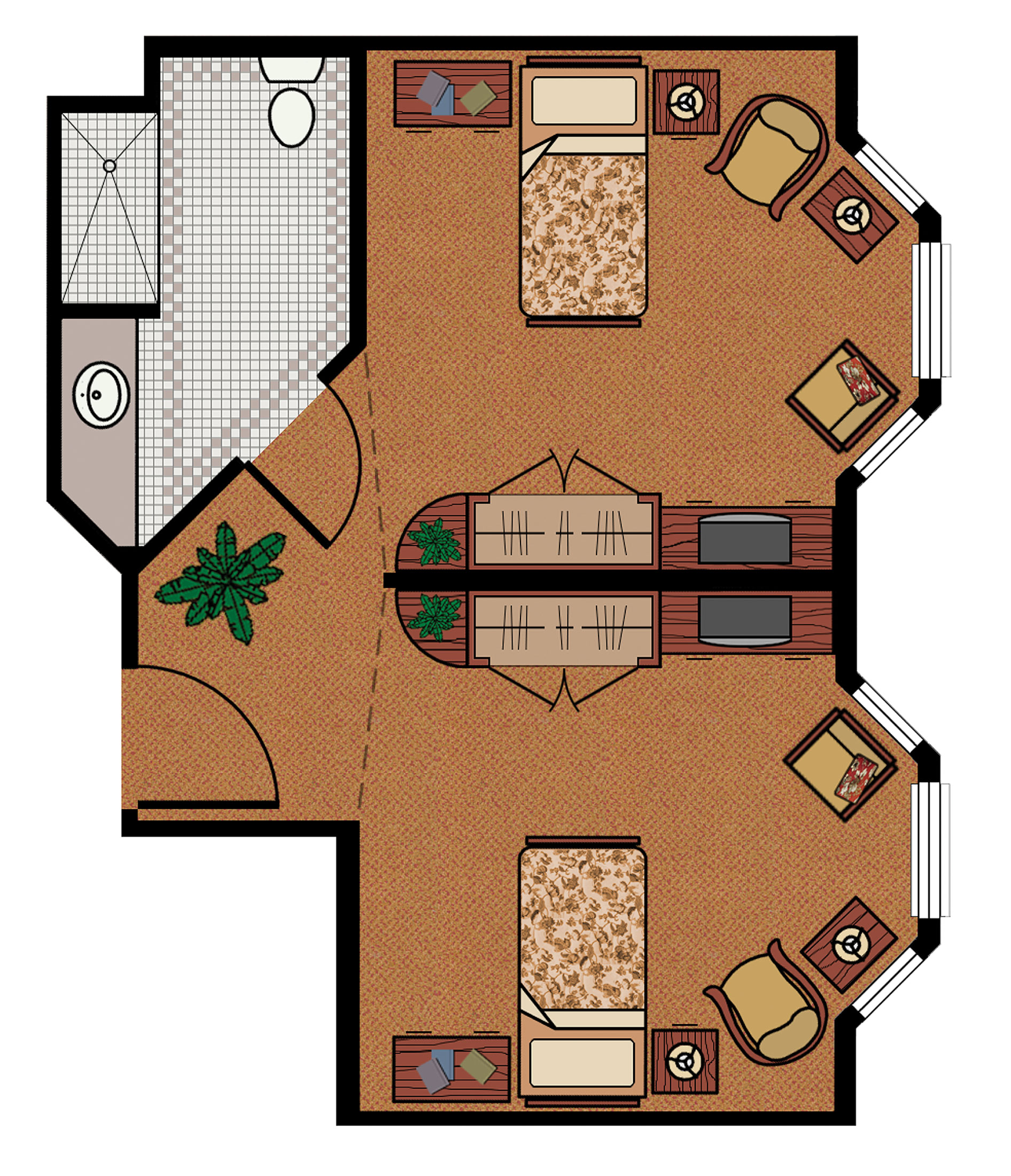 A graphic of the floor plan for a small, private condo