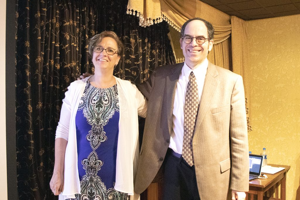 Sarah Davis from the Brain Injury Foundation of St. Louis (left) and Dr. Hillel Goldstein from West County Psychological Associates