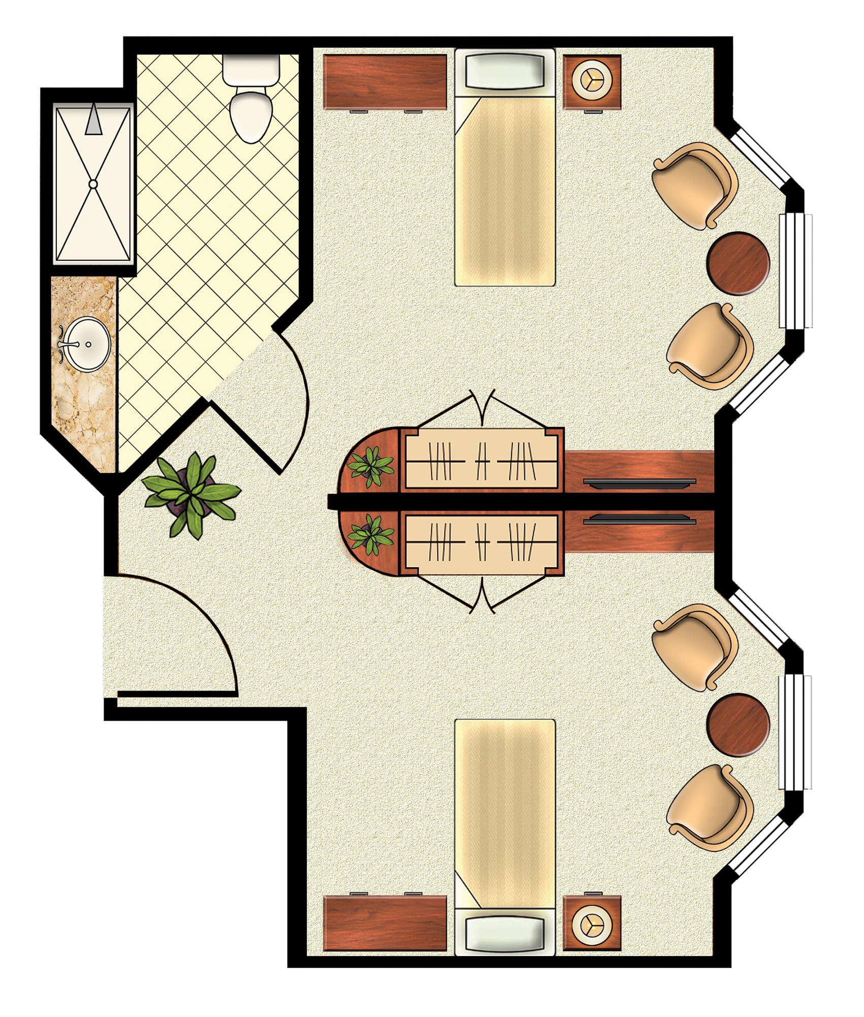 Shared Bath Floorplan